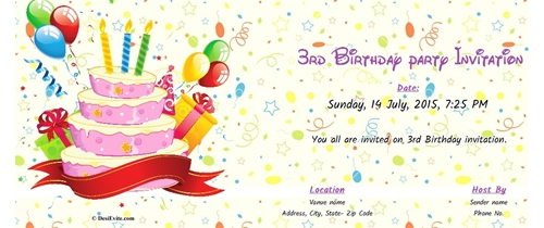 Free 3rd Birthday Party Invitation Card Online Invitations