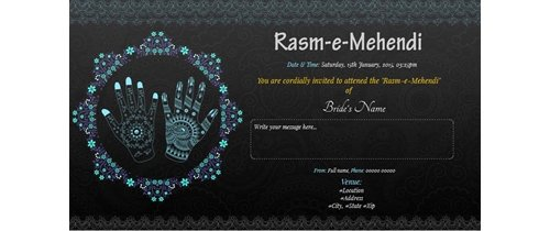 Cordially invited you to attend Rasm-e-Mehendi