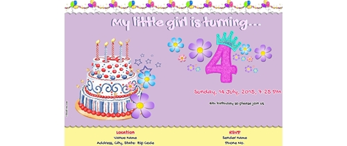 4th Birthday Invitation- Girl