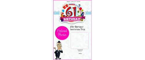 Celebrate 61th birthday invitation card