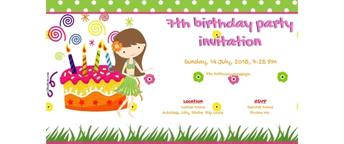 7th Birthday Party Invitation - Girl