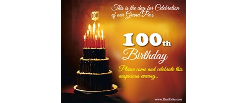 100th Birthday Party Invitation