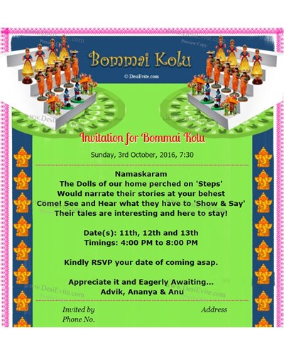 Invitation for Bommai Golu and Thamboolam