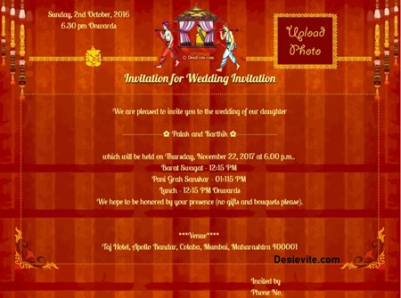 Invitation With Image Celebrate Grand Wedding
