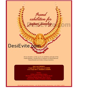 Jewellery exhibition / Inauguration Card