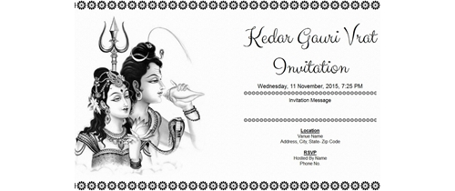 Kedar Gauri Vrat Invitation