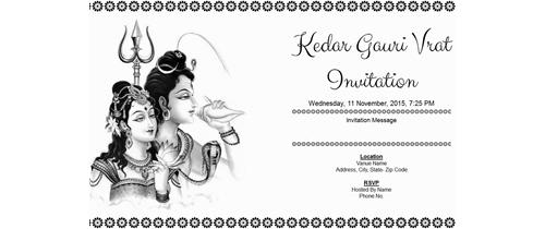Kedar Gauri Vrat Invitation