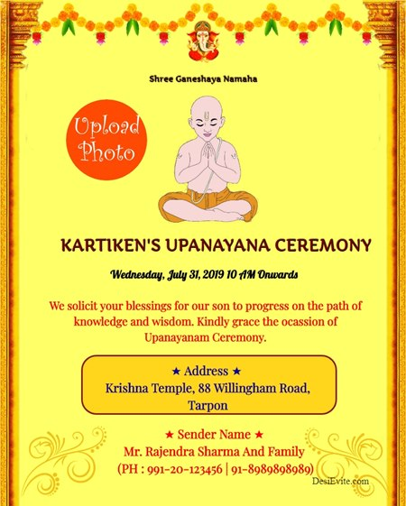 UPANAYANA CEREMONY Invitation