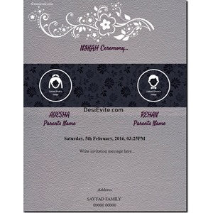 Nikah ceremony /  Islamic wedding invitation card with groom bride picture