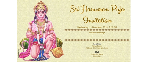 Sri Hanuman Puja Invitation