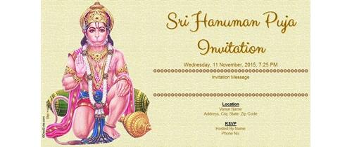 Sri Hanuman Puja Invitation