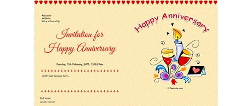 Invite to all of Happy Anniversary theme white cake