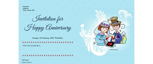 Invite to all of Happy Anniversary theme boquet of roses