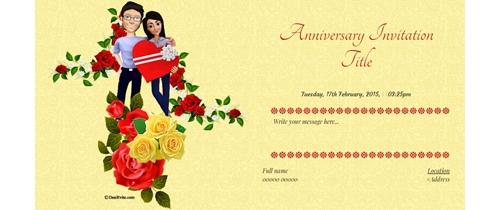 Invite to all Happy Anniversary Theme white cake