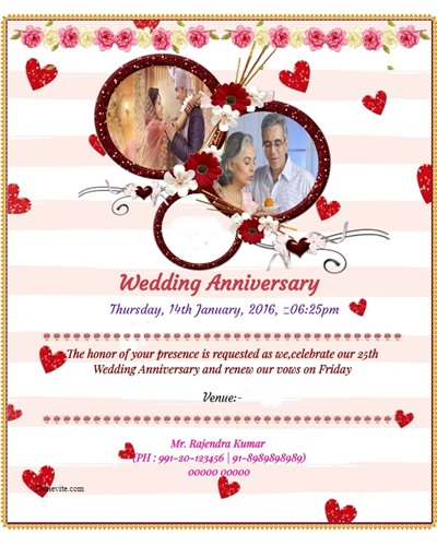 Wedding Anniversary Invitation with photo upload option
