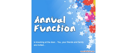 Annual Function its knocking at your door please join the party
