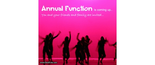 Annual Function is coming up