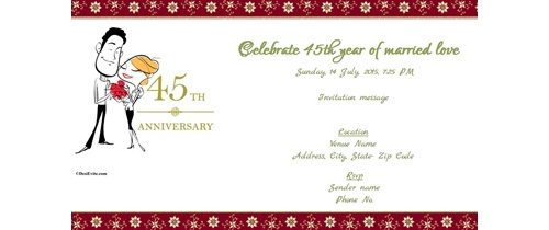 You are invited to celebrate my 45th Wedding Anniversary