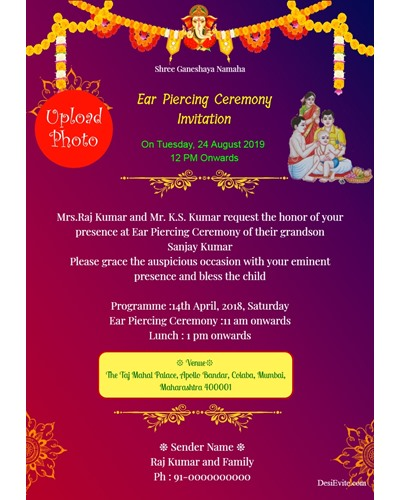 Free Ear Piercing Ceremony Invitation Card Online Invitations
