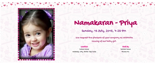 Free Online Naming Ceremony / Namakaran Invitation