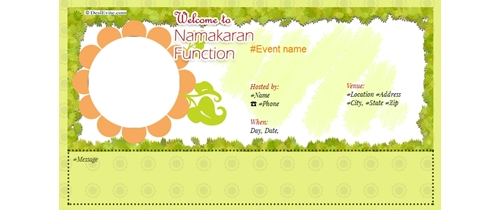 Baby naming ceremony invitation template for Baby namkaran decoration