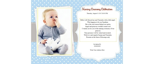 Invitation With Image Naming Ceremony Invitation