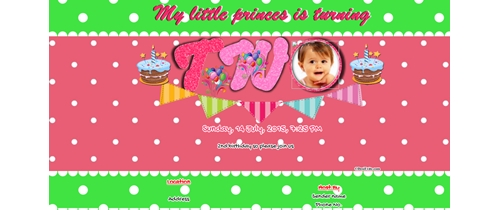Invitation With Image 2nd Birthday For Girls