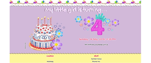 Free 4th birthday party invitation card online invitations 4th birthday invitation girl bookmarktalkfo Image collections