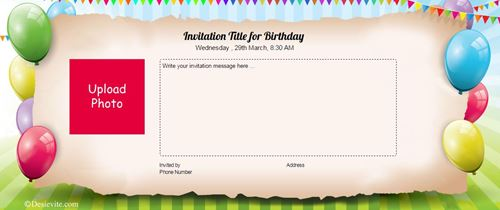 HD Birthday invitation card with photo upload