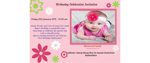 Birthday Invitation Flower Theme for Whtsapp