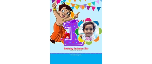 Chota bheem theme 1st birthday invitation card