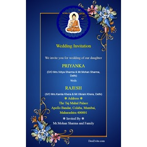 buddhist wedding invitation card and matter in english