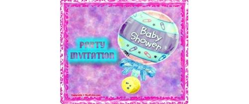 Baby Shower Party Invitation ballon