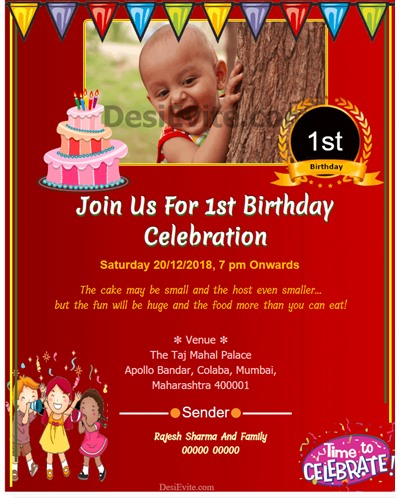 Tremendous Free 1St Birthday Invitation Card Online Invitations Funny Birthday Cards Online Alyptdamsfinfo