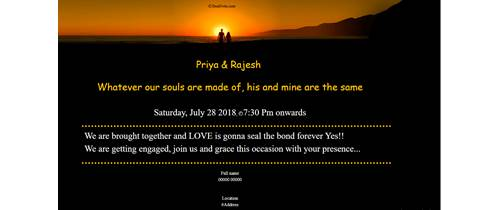 Engagement card sunset invitation theme