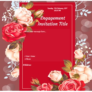 Free engagement ceremony Invitation card with rose