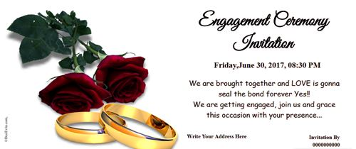 Free engagement ceremony Invitation card with rose & Ring
