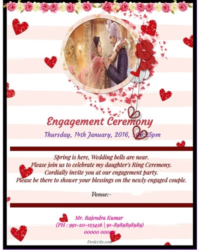 Engagement/Ring Ceremony Valentine theme card