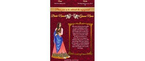Engagement Invitation card for bride/daughter