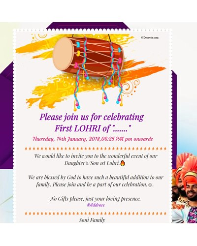 Free lohri invitation card online invitations first lohri invitation stopboris