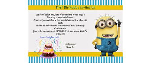 Birthday Invitation Minion Theme