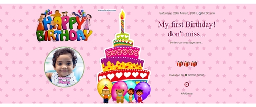 Invitation With Image My First Birthday Dont Miss