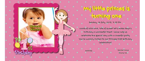 Invitation With Image 1st Birthday For S