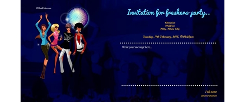 Free freshers party invitation card online invitations freshers party invitation stopboris Gallery