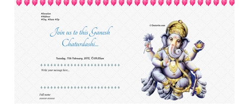 Free ganesh chaturthi invitation card online invitations celebrating ganesh chaturthi stopboris Image collections