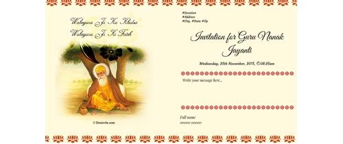 Invitation for Guru Nanak Jayanti