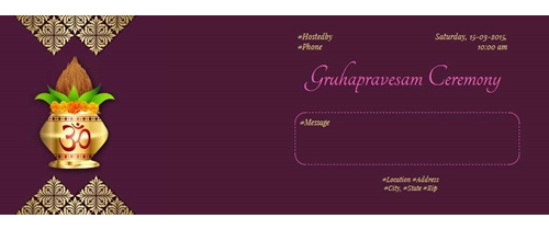 Free griha pravesh housewarming invitation card online invitations gruhapravesam vidhi stopboris Image collections
