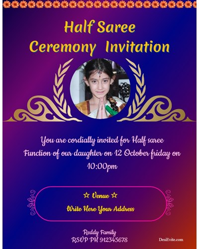 Half saree function ceremony invitation
