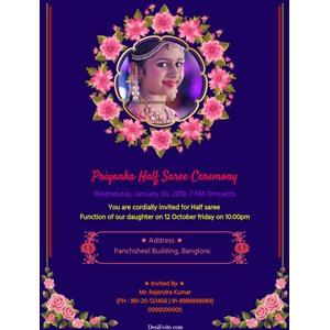 half-saree-invitation-card-floral-design