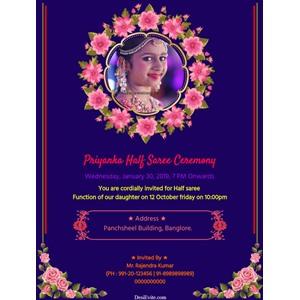 half-saree-invitation-card-floral-design